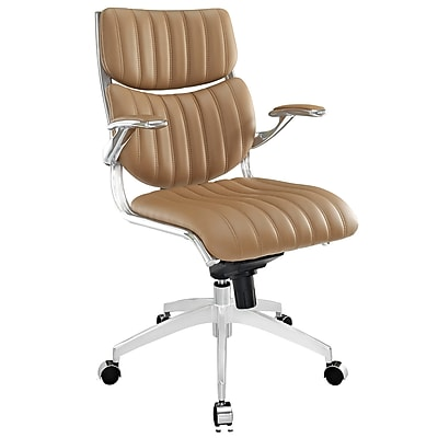 Modway EEI-1028-TAN Escape Leatherette Mid-Back Executive Chair with Adjustable Arms, Tan