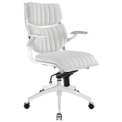 Modway Escape Leather Executive Office Chair, Adjustable Arms, White (848387009090)