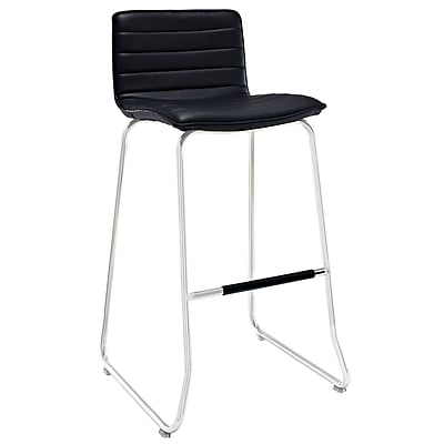 Modway Dive Padded Vinyl Bar Stool, Black