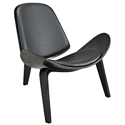 Modway Arch Padded Vinyl Lounge Chair, Black
