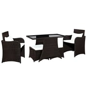 Modway Artesia Tempered Glass 5-Piece Patio Dining Set, Brown White