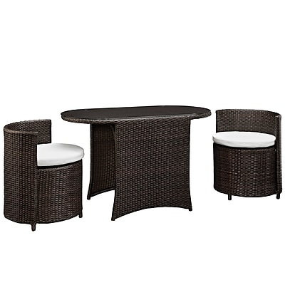 Modway Katonti 3 Piece Dining Set, Brown White