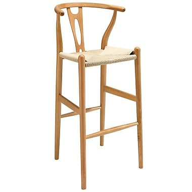 Modway Hourglass Paper Rope Bar Stool, Natural