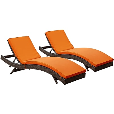 Modway Peer Rattan Weave Wicker Chaise Set, Brown/Orange, 2/Pack
