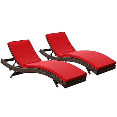 Modway Peer Rattan Weave Wicker Chaise Set, Brown/Red, 2/Pack