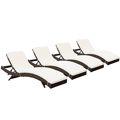 Modway Peer Rattan Weave Wicker Chaise, Brown/White, 4/Pack