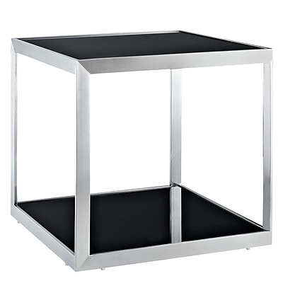 """""Modway 21 1/2"""""""" x 23 1/2""""""""x 23 1/2"""""""" Tempered Glass Open Box Side Table, Black"""""" 975353"