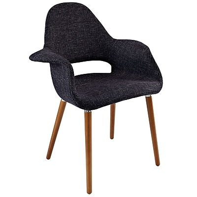 Modway Taupe Fabric Dining Accent Armchair, Black