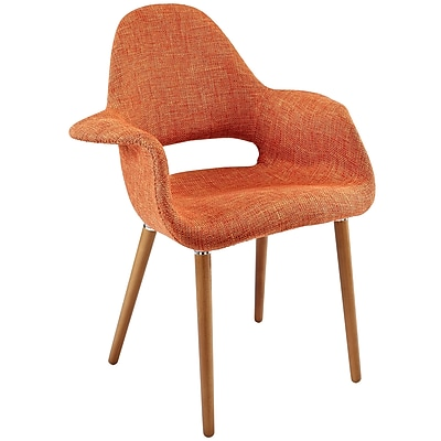 Modway Taupe Fabric Dining Accent Armchair, Orange