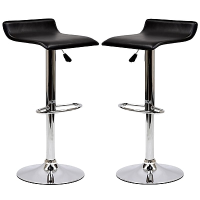 Modway Gloria Leatherette Bar Stool Set, Black, 2/Pack