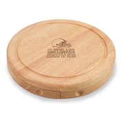 """Picnic Time® NFL Licensed Brie """"Cleveland Browns"""" Engraved Cheese Board Set W/Tools, Wood/Brown"""