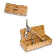 """Picnic Time® NFL Licensed Elan """"Green Bay Packers"""" Engraved Corkscrew With Box, Bamboo"""