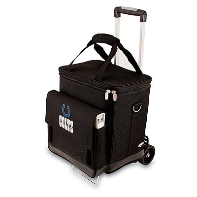 """Picnic Time® NFL Licensed Cellar """"Indianapolis Colts"""" Digital Print Tote With Trolley, Black"""