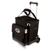"""Picnic Time® NFL Licensed Cellar """"Green Bay Packers"""" Digital Print Tote With Trolley, Black"""