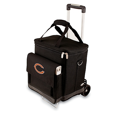 """""""""""Picnic Time NFL Licensed Cellar """"""""""""""""Chicago Bears"""""""""""""""" Digital Print Tote With Trolley, Black"""""""""""" 917517"""