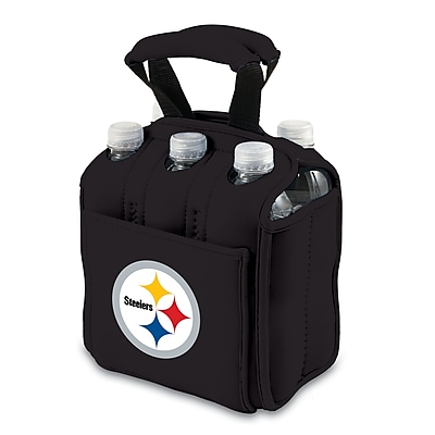 """""Picnic Time NFL Licensed Six Pack """"""""Pittsburgh Steelers"""""""" Digital Print Neoprene Cooler Tote, Black"""""" 918768"
