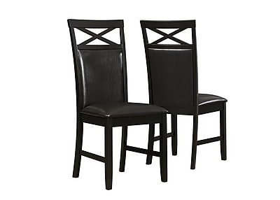 Monarch Specialties Inc. Leather Side Chair, Cappuccino, 2/Set (I 1801)