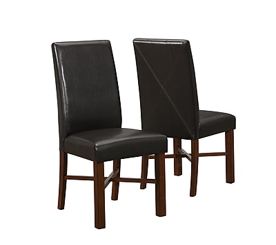 Monarch Specialties Inc. Leather Side Chair, Brown, 2/Set (I 1818)
