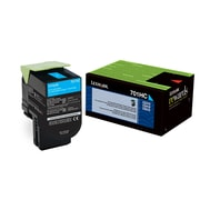 Lexmark 701HC Cyan Return Program Toner Cartridge, High Yield (70C1HC0)
