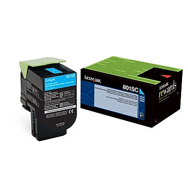 Lexmark 801SC Cyan Return Program Toner Cartridge, Standard Yield (80C1SC0)