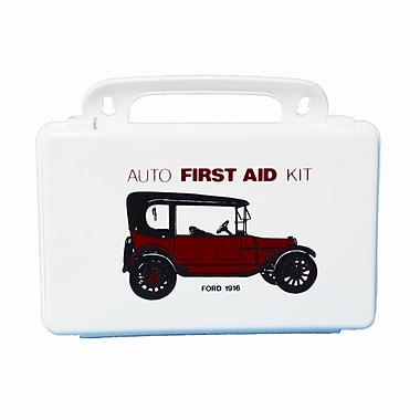 Shield First Aid Kit, 10 Unit, Antique Car Motif, Plastic Box