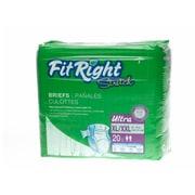 "Medline® FitRight® Ultra Stretch Clothlike Briefs, XL/2XL (59"" - 70""), 80/Pack"