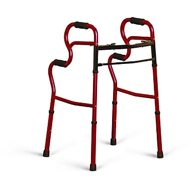 Medline® 3-in-one Two-Button Adult Stand-Assist Walker, Red, 32