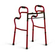 "Medline® 3-in-one Two-Button Adult Stand-Assist Walker, Red, 32"" - 39"", 2/Pack"