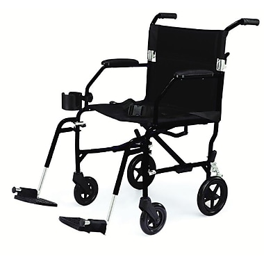 Medline® Freedom Transport Chair With Restaurant Style Arm and Swing Away Leg, Black