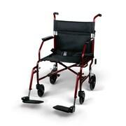 Medline® Freedom Transport Ultra Light Steel Chair W/Restaurant Style and Swing Away Leg, Red Frame