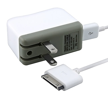 MYBAT™ Travel Charger With Sync Cable For Apple iPod/iPhone/iPad, White
