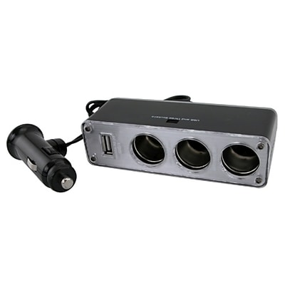 Insten® Three-Way Car Cigarette Lighter Socket Splitter W/USB Port, Black