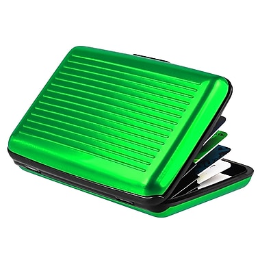 Insten® Aluminum Business Card Case With Snap Closure, Green