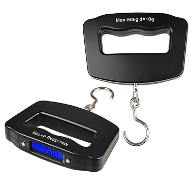 Insten® COTHDIGSCLE7 10g - 50kg LCD Digital Hanging Luggage Fishing Weight Scale, Black