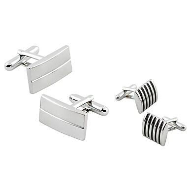 Insten® 2-Piece Square Black Stripe and Rectangular Stripe Cufflinks (636024)