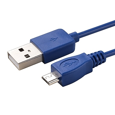 Insten® 6' Micro USB A/B 2-in-1 Cable, Blue (COTHMICRDA16)