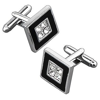 Insten® Nickel Plated 4 Jewels Square Cufflink, Black/ Silver (MOTHCUFLIK22)