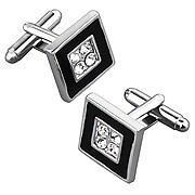 Insten® Nickel Plated 4 Jewels Square Cufflink, Black/ Silver