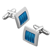 Insten® Nickel Plated Square Cufflink, Blue/Silver