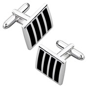 Insten® Version 2 Square Cufflink, Black/Silver