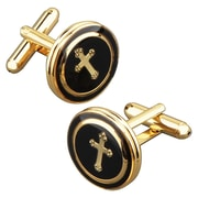Insten® Nickel Plated Round With a Cross Cufflink, Black/Copper