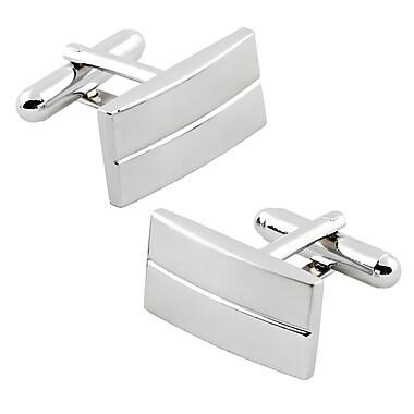 Insten® Rectangular Stripe Cufflink, Silver