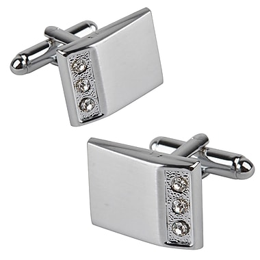 Insten® 3 Jewels Rectangle Cufflink, Silver (MOTHCUFLINK8)