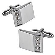 Insten® 3 Jewels Rectangle Cufflink, Silver