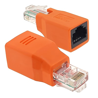 Insten® RJ45 Male/Female Crossover Adapter, Orange