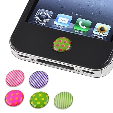 Insten® 6 Piece Home Button Sticker For Apple iPhone/iPad/iPod Touch, Dot/Strip