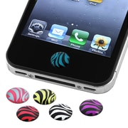 Insten® 6 Piece Home Button Sticker For Apple iPhone/iPad/iPod Touch, Zebra