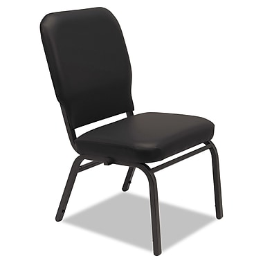 Alera® Oversize Vinyl Stack Chair Without Arms, Black