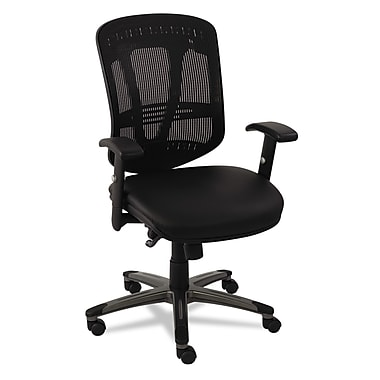 Alera® EON Series Multifunction Leather/Mesh Chair, Black