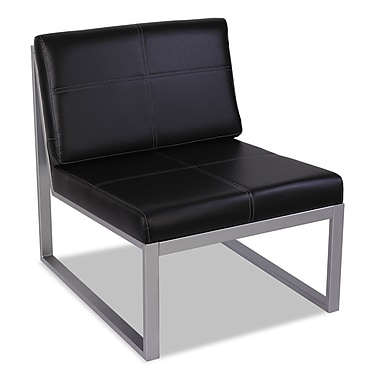 Alera® Reception Lounge Series Leather Waiting Armless Cube Chair, Black/Silver
